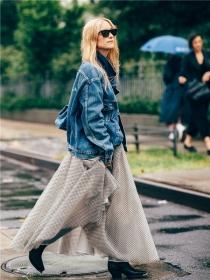 夾克+仙女裙,是春天最美的套路