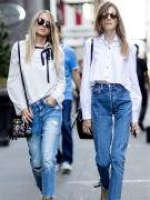牛仔裤还是配白色上装最清爽,最春天